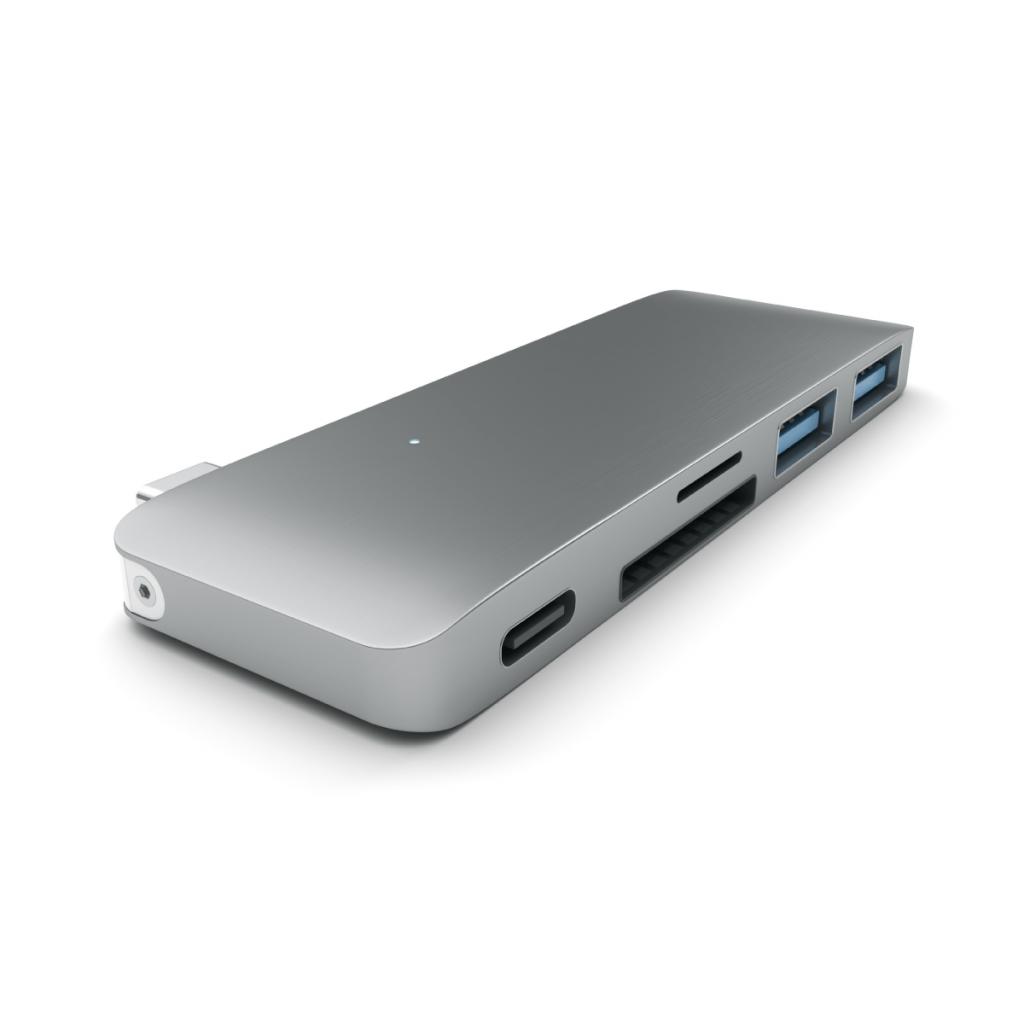 Satechi Type-C Pass Through USB Hub – Stellargrå