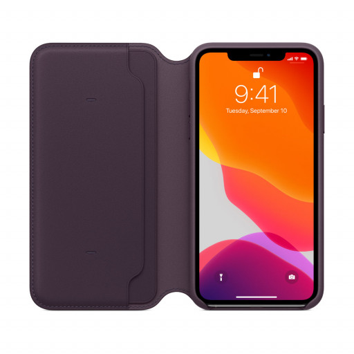 Apple Folio-skinndeksel til iPhone 11 Pro Max - Aubergine