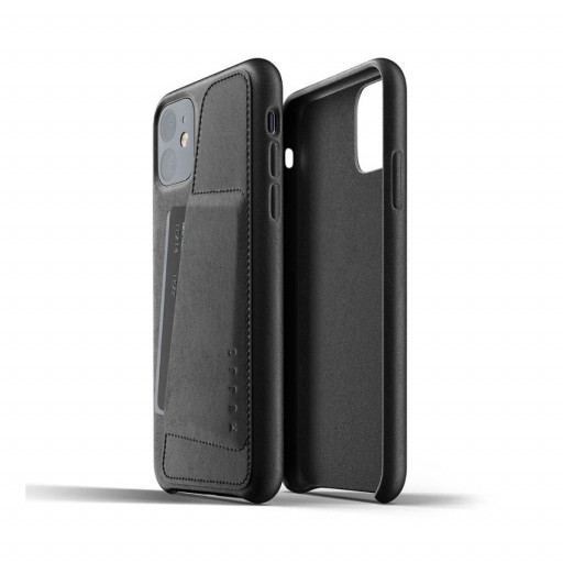 Mujjo Full Leather Wallet Case for iPhone 11 – Svart