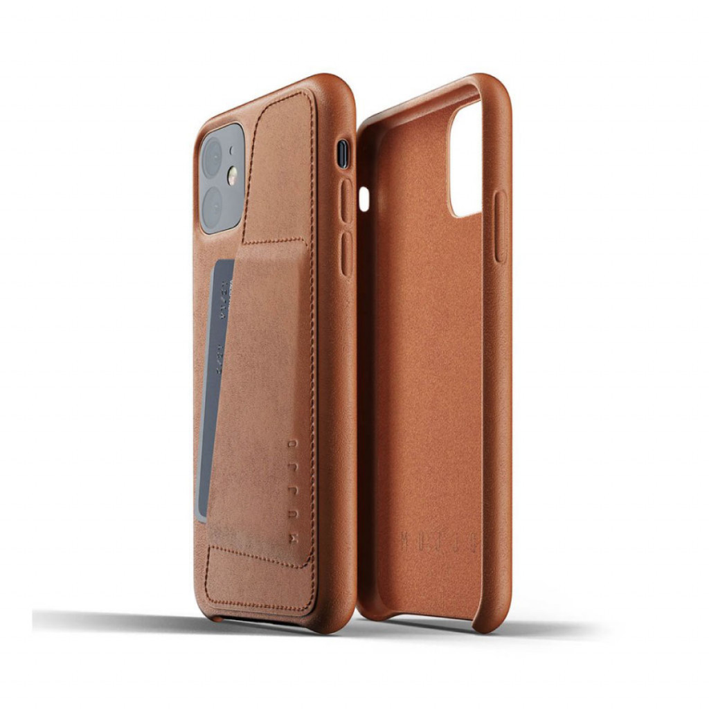 Mujjo Full Leather Wallet Case for iPhone 11 – Lærbrun