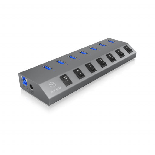 ICY BOX 7 port USB 3.0 Hub og Lader