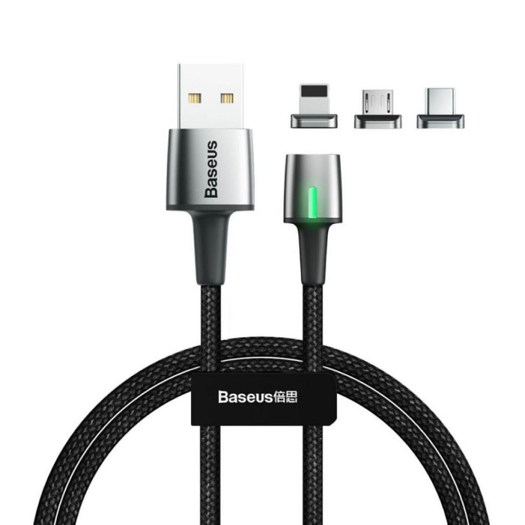 Baseus magnetisk ladekabel USB-A til Lightning / USB-C / microUSB - 2m - Svart