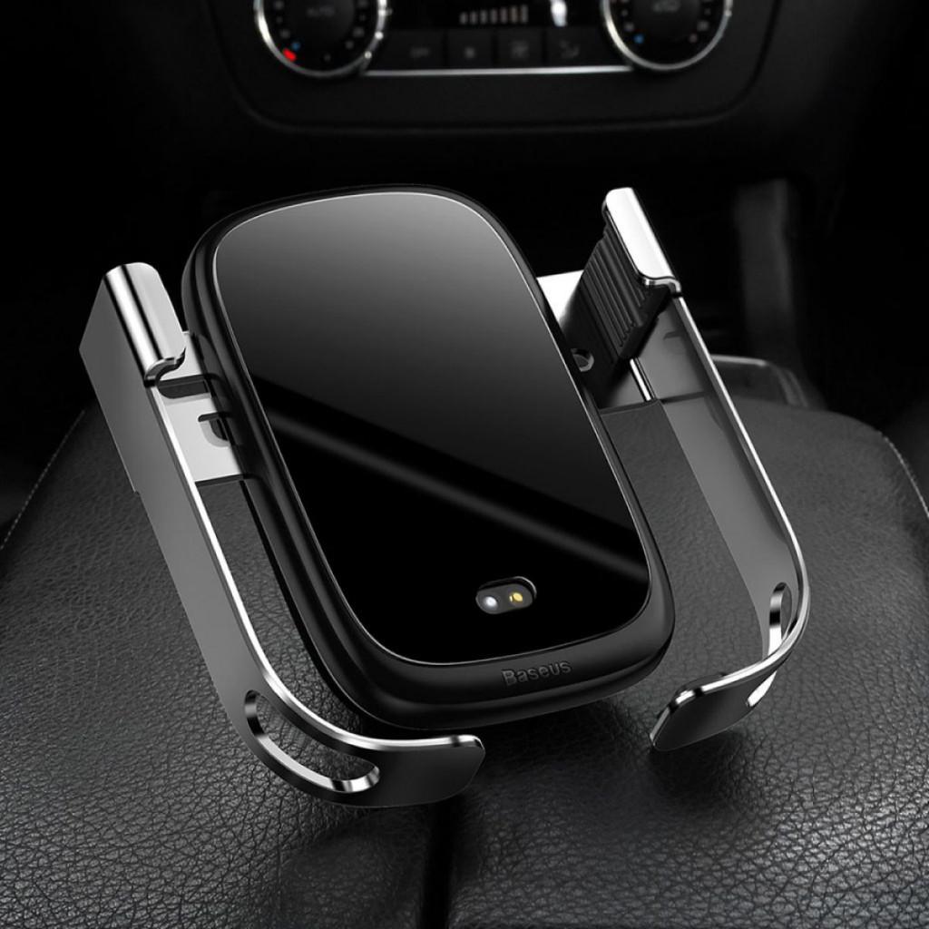 Baseus Rock Solid - Trådløs QI lader og holder til iPhone til bil