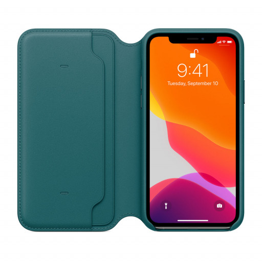 Apple Folio-skinndeksel til iPhone 11 Pro - Påfugl