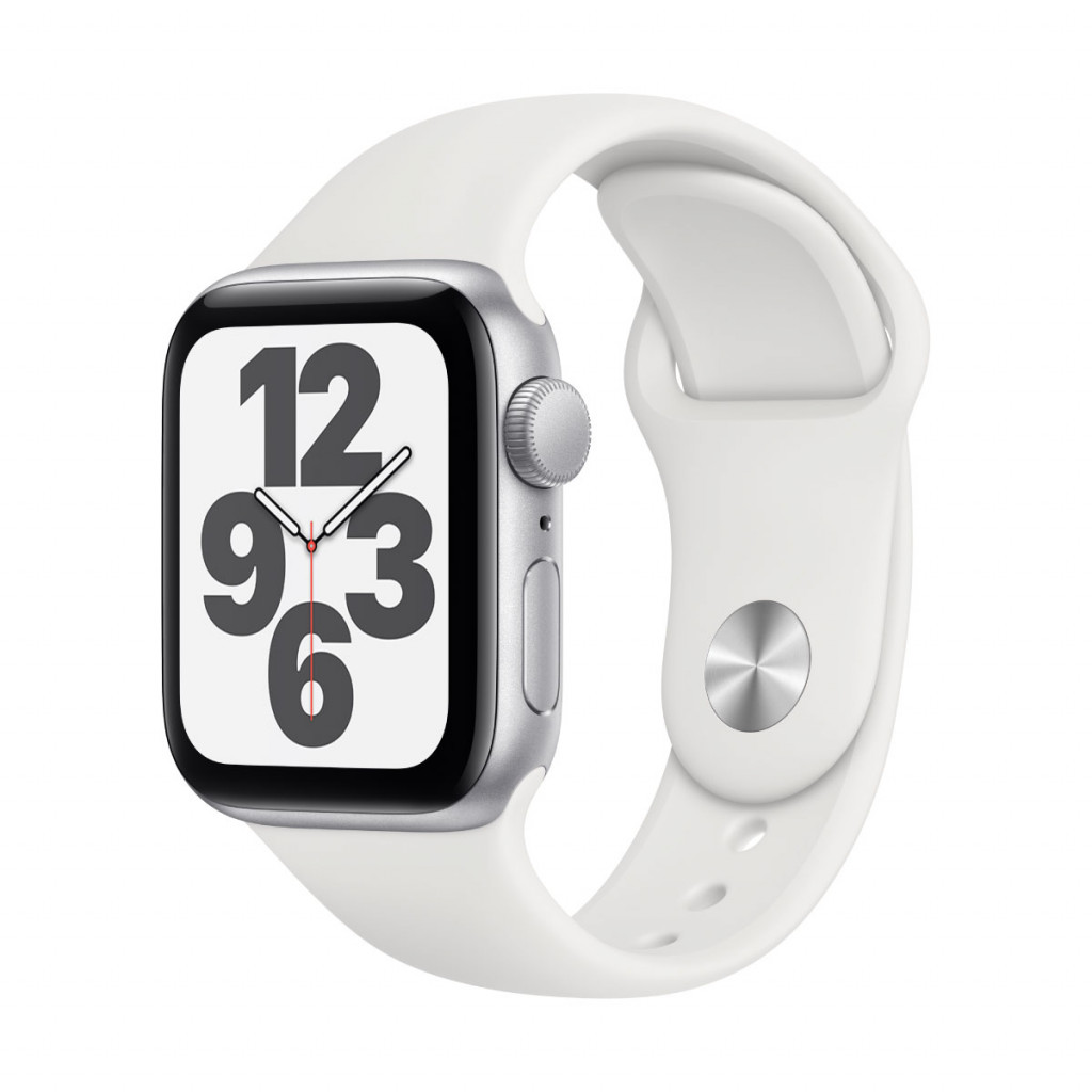 Apple Watch SE GPS 40 mm – Aluminium i Sølv med Hvit Sport Band