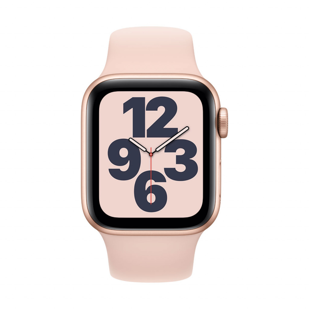 Apple Watch SE GPS 40 mm – Aluminium i Gull med Sandrosa Sport Band