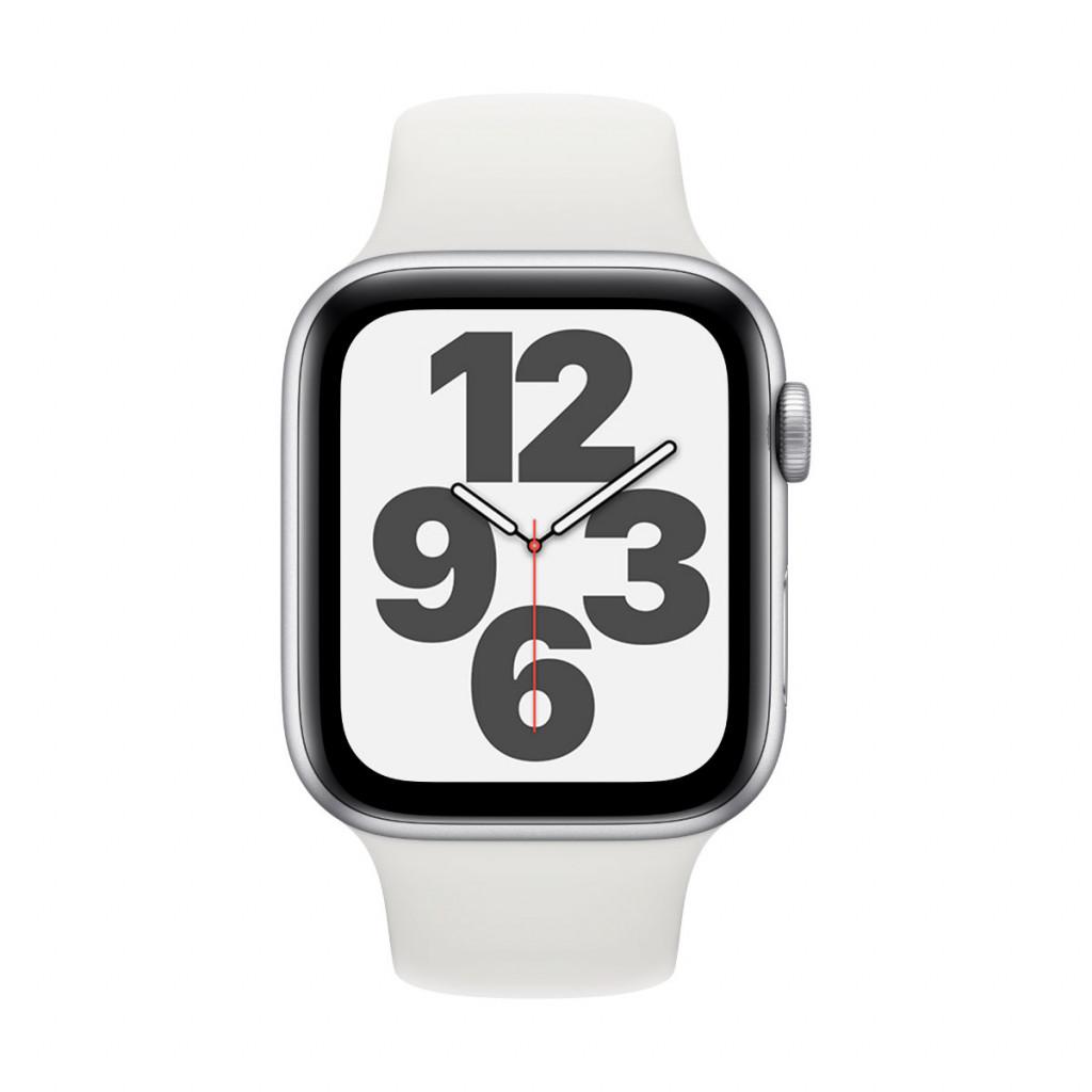 Apple Watch SE GPS 44 mm – Aluminium i Sølv med Hvit Sport Band