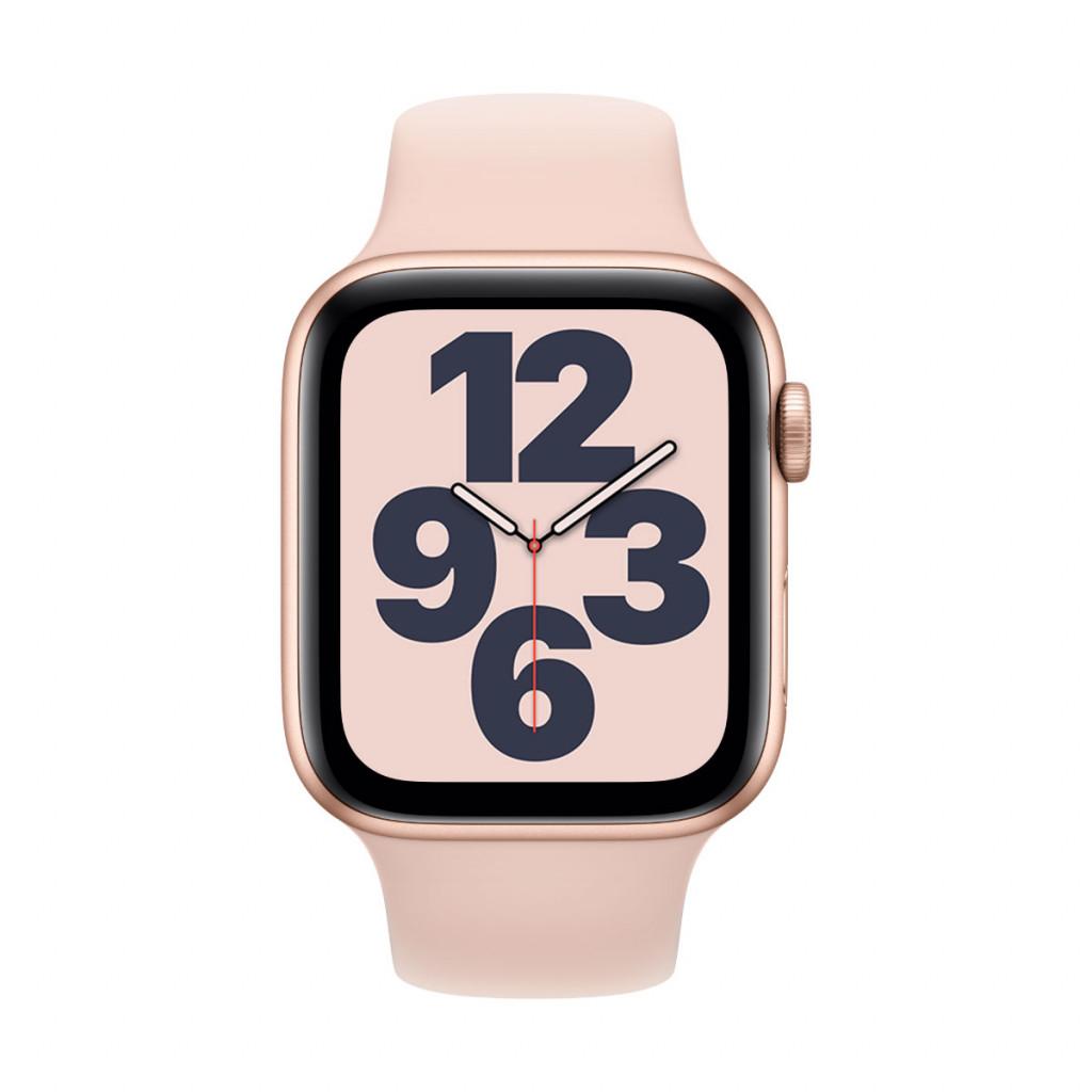 Apple Watch SE GPS 44 mm – Aluminium i Gull med Sandrosa Sport Band