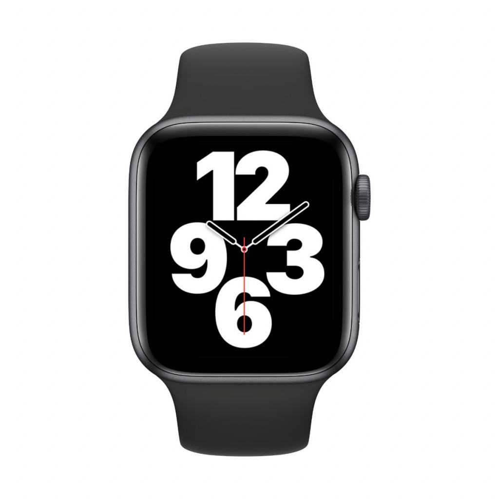 Apple Watch SE GPS 44 mm – Aluminium i Stellargrå med Svart Sport Band