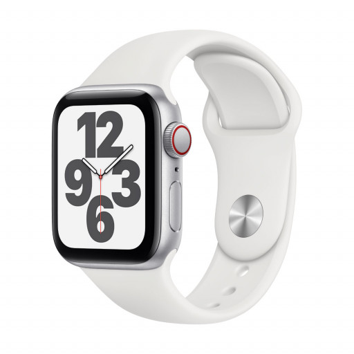 Apple Watch SE Cellular 40 mm – Aluminium i Sølv med Hvit Sport Band