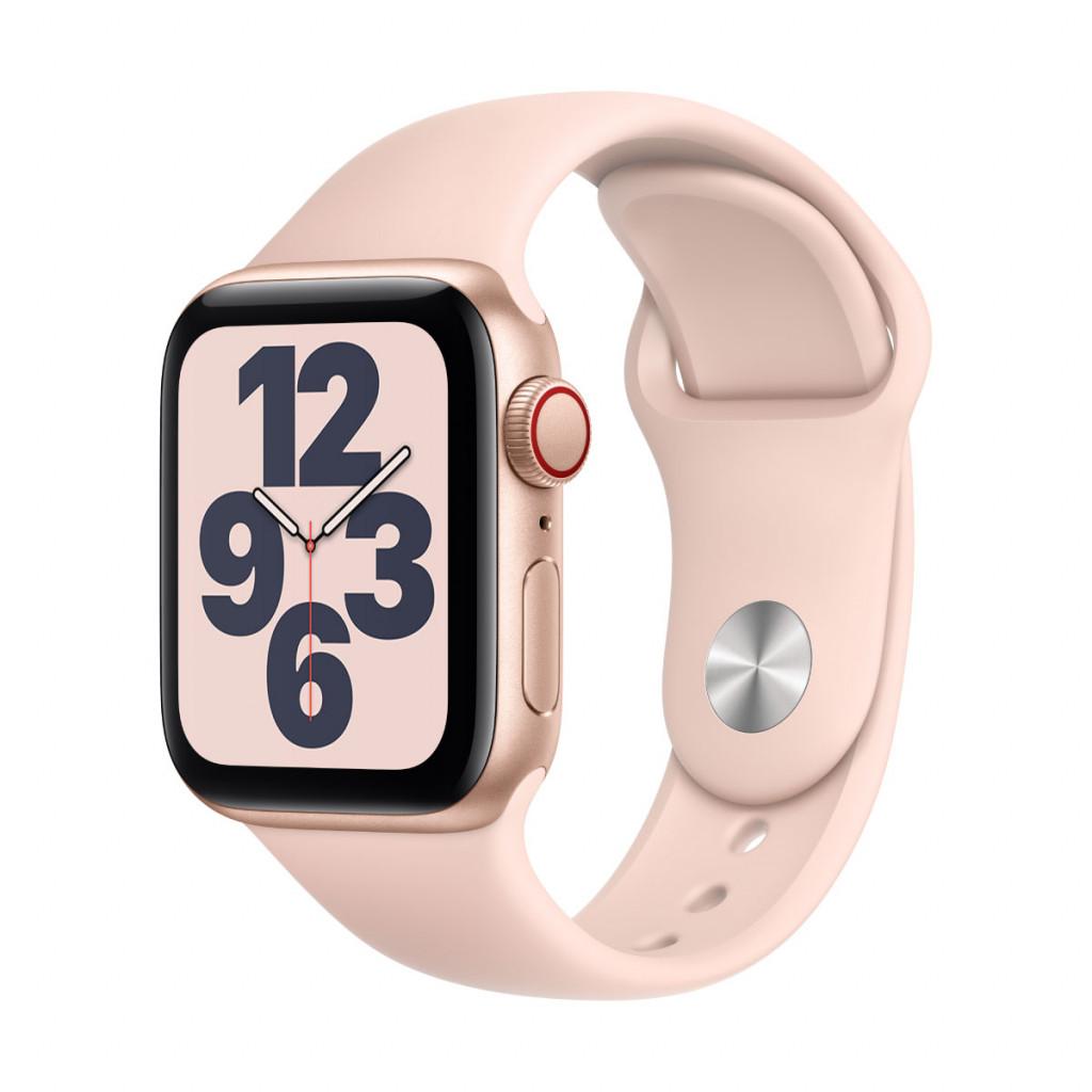 Apple Watch SE Cellular 40 mm – Aluminium i Gull med Sandrosa Sport Band