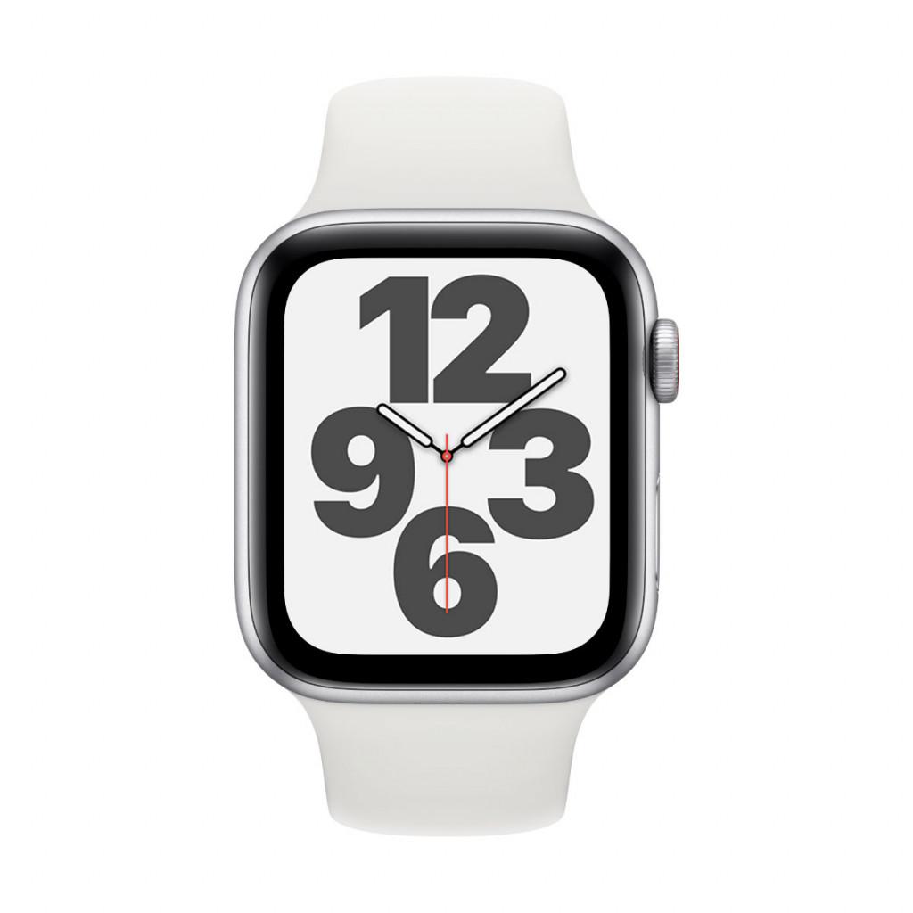 Apple Watch SE Cellular 44 mm – Aluminium i Sølv med Hvit Sport Band