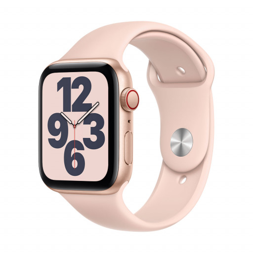 Apple Watch SE Cellular 44 mm – Aluminium i Gull med Sandrosa Sport Band
