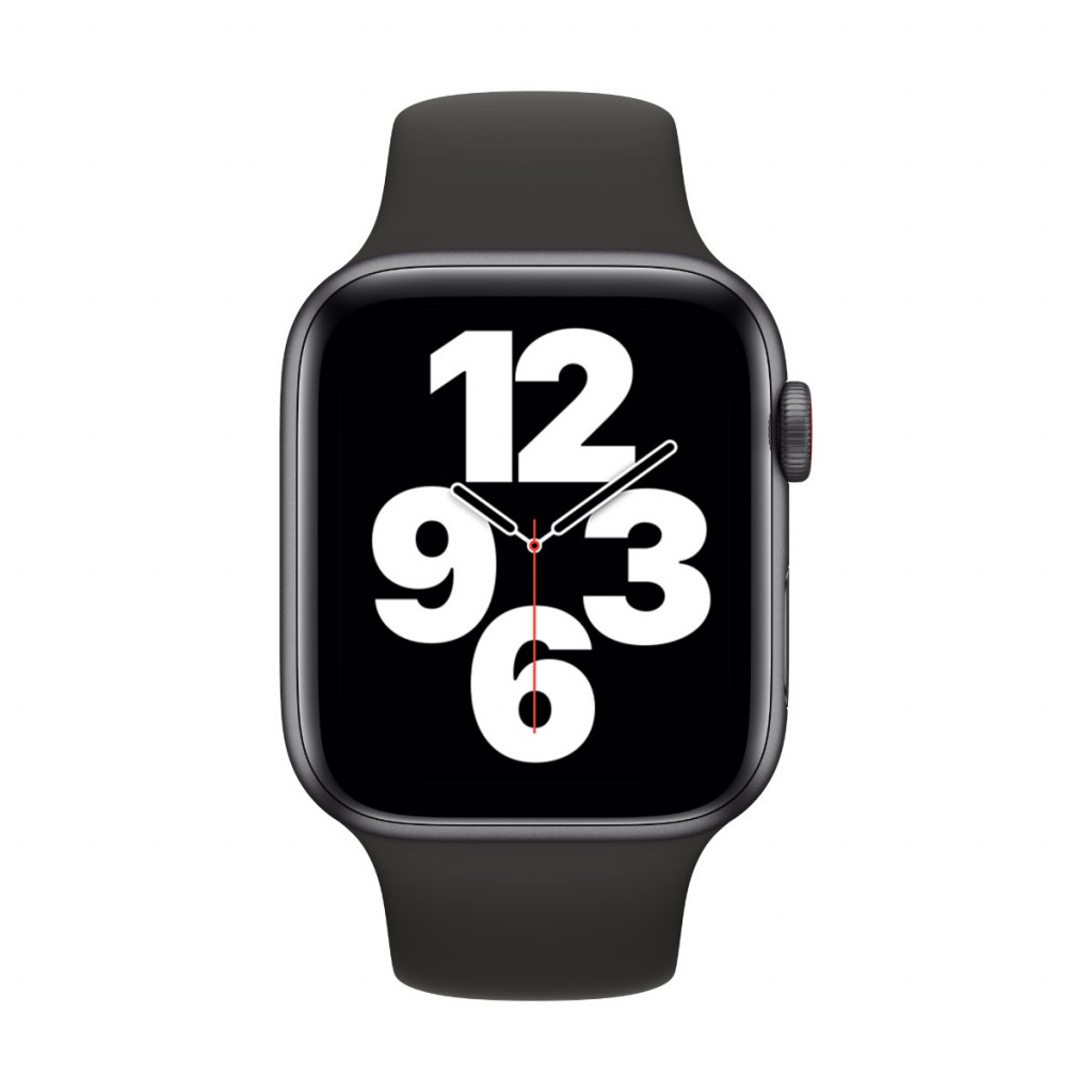Apple Watch SE Cellular 44 mm – Aluminium i Stellargrå med Svart Sport Band