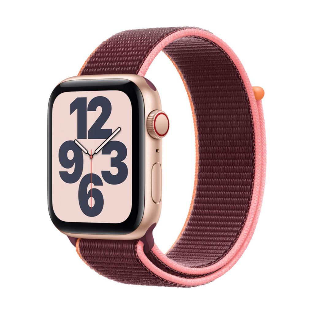 Apple Watch SE Cellular 44 mm – Aluminium i Gull med Plomme Sport Loop
