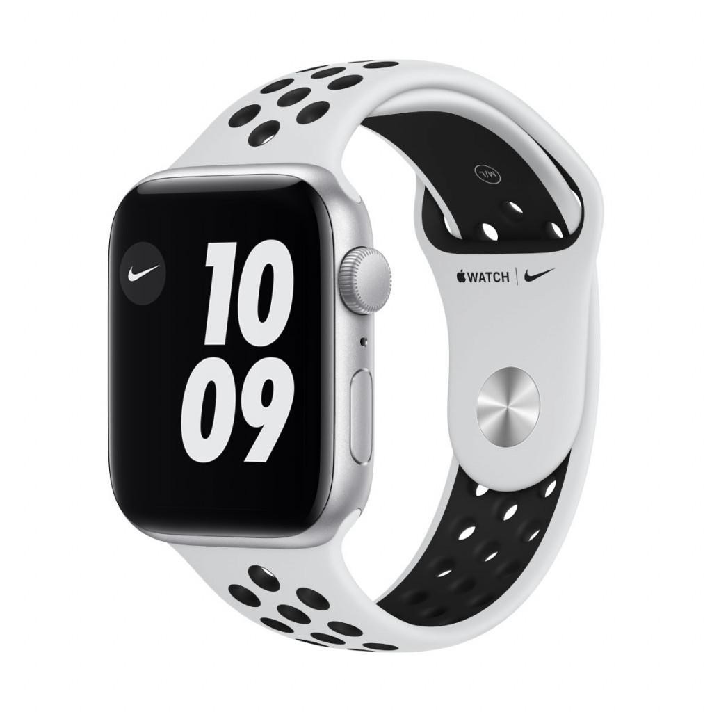 Apple Watch Nike SE GPS 44 mm – Aluminium i Sølv med Pure Platinum/Black Nike Sport Band
