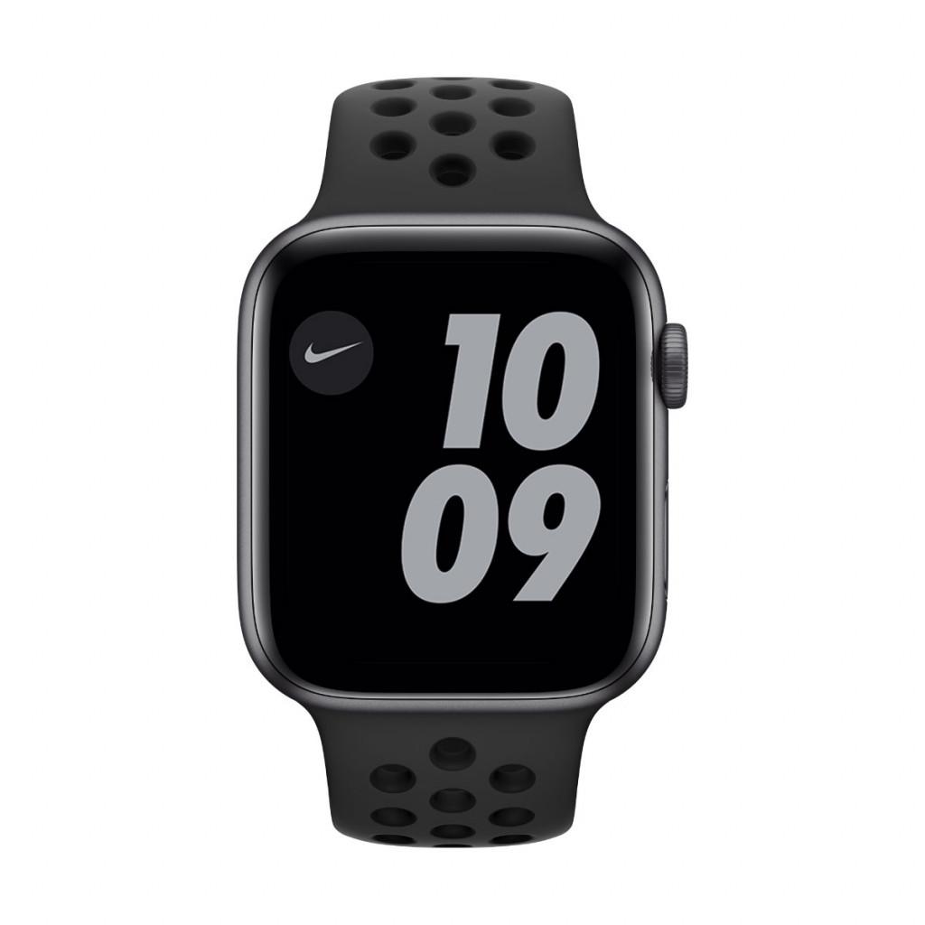 Apple Watch Nike SE GPS 44 mm – Aluminium i Stellargrå med Anthracite/Black Nike Sport Band