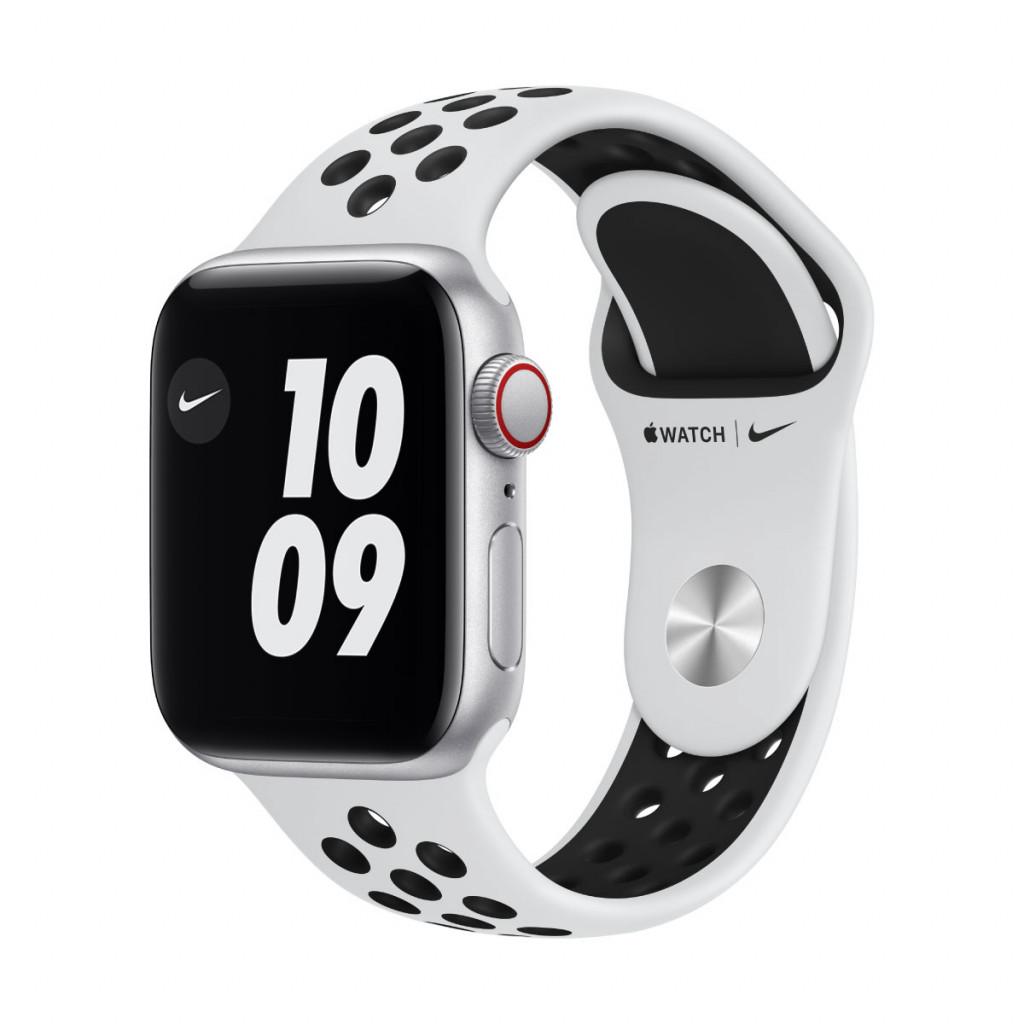 Apple Watch Nike SE Cellular 40 mm – Aluminium i Sølv med Pure Platinum/Black Nike Sport Band