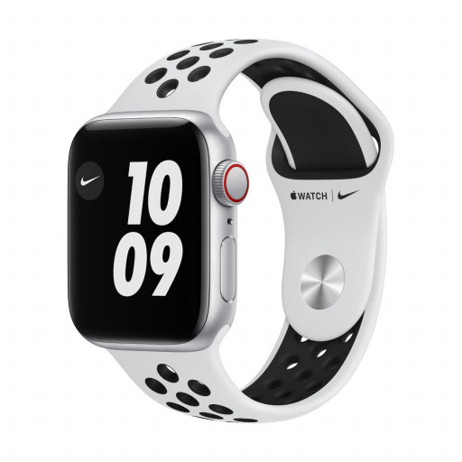 Apple Watch Nike SE Cellular 40 mm – Aluminium i Sølv med Pure Platinum/Black Nike Sport Band