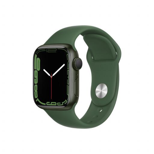 Apple Watch Series 7 GPS 41 mm – Aluminium i Grønn med Kløver Sport Band