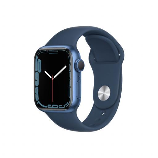 Apple Watch Series 7 GPS 41 mm – Aluminium i Blå med Havdypblå Sport Band
