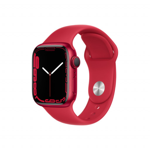 Apple Watch Series 7 GPS 41 mm – Aluminium i (PRODUCT)RED med (PRODUCT)RED Sport Band