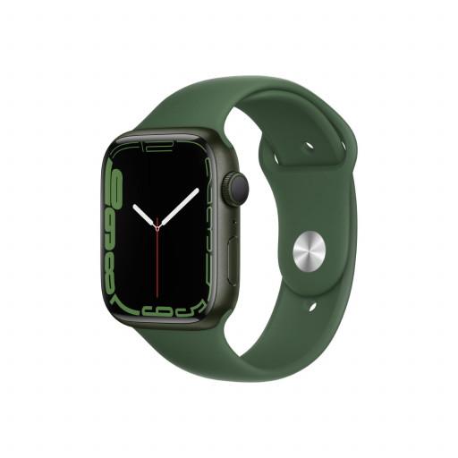 Apple Watch Series 7 GPS 45 mm – Aluminium i Grønn med Kløver Sport Band