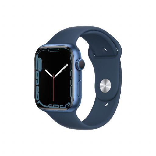 Apple Watch Series 7 GPS 45 mm – Aluminium i Blå med Havdypblå Sport Band