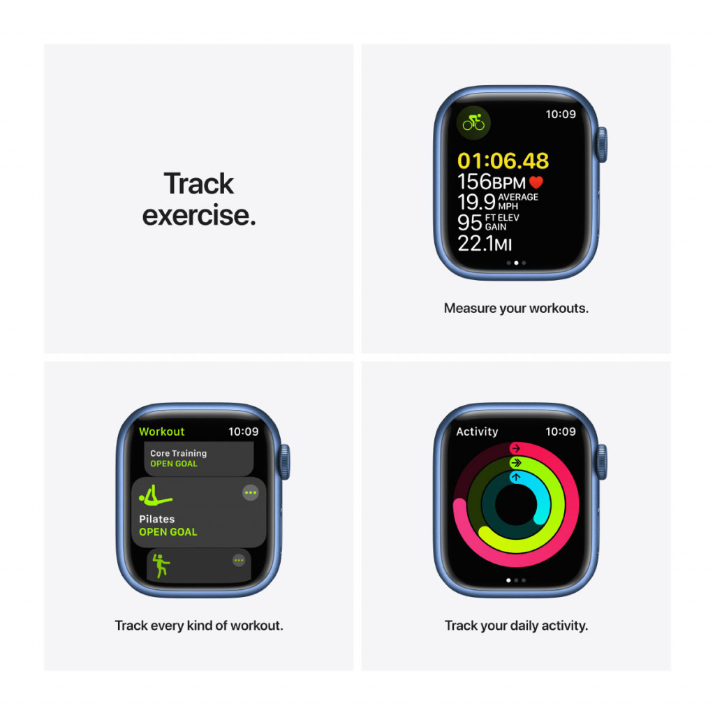 Apple Watch Series 7 Cellular 41 mm – Aluminium i Blå med Havdypblå Sport Band