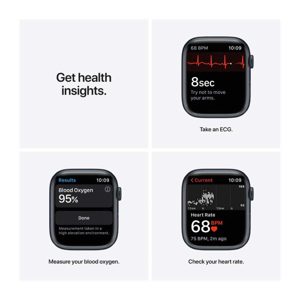 Apple Watch Series 7 Cellular 45 mm – Aluminium i Midnatt med Midnatt Sport Band