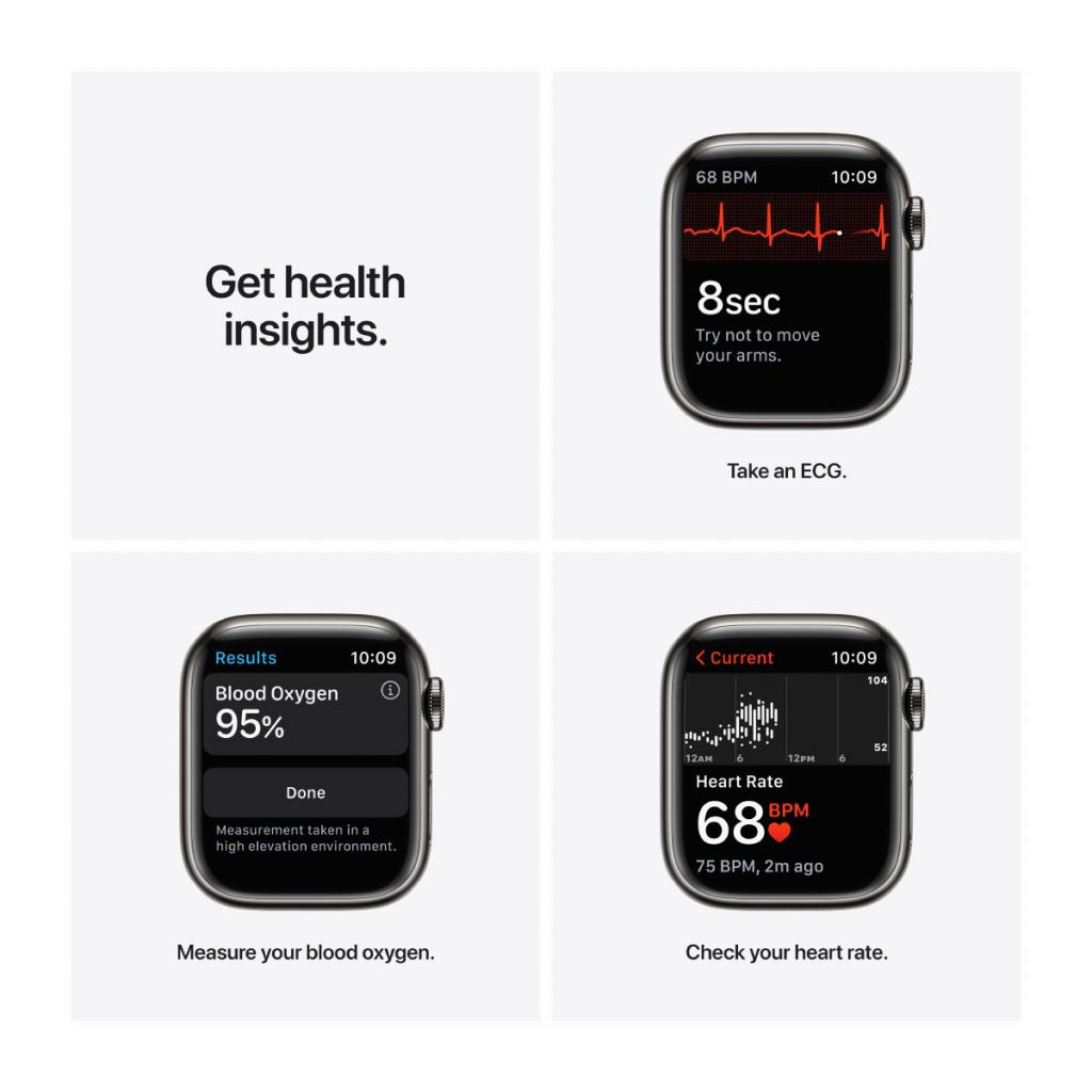 Apple Watch Series 7 Cellular 41 mm – Rustfritt stål i Grafitt med Havdypblå Sport Band