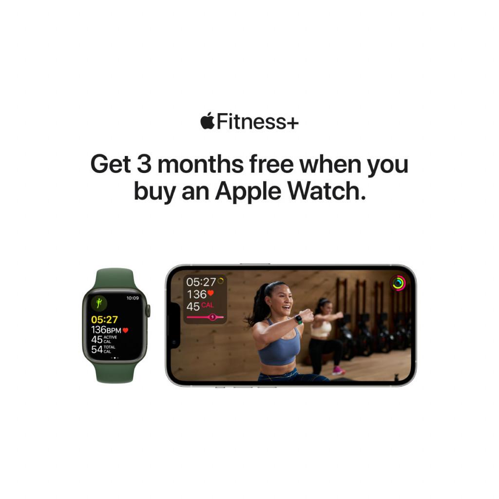 Apple Watch Series 7 Cellular 45 mm – Rustfritt stål i Gull med Mørk Kirsebær Sport Band