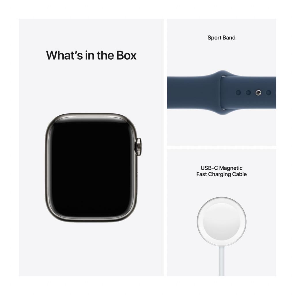 Apple Watch Series 7 Cellular 45 mm – Rustfritt stål i Grafitt med Havdypblå Sport Band
