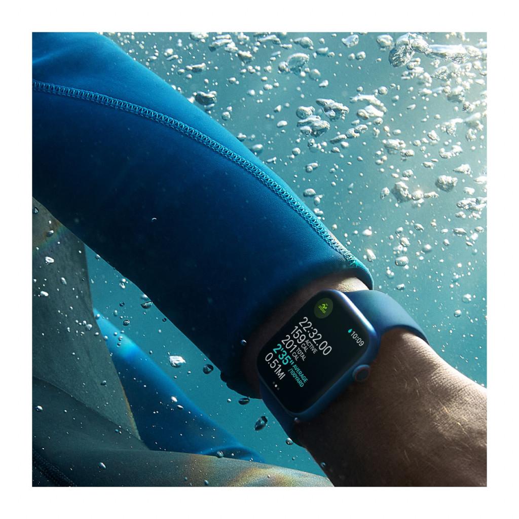 Apple Watch Series 7 Cellular 41 mm – Rustfritt stål i Sølv med Stjerneskinn Sport Band