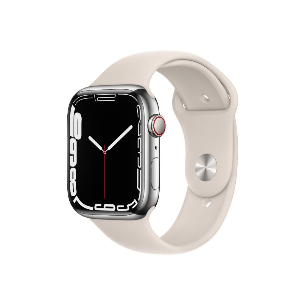 Apple Watch Series 7 Cellular 45 mm – Rustfritt stål i Sølv med Stjerneskinn Sport Band