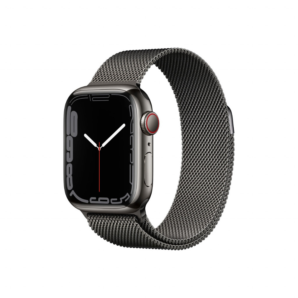 Apple Watch Series 7 Cellular 41 mm – Rustfritt stål i Grafitt med Grafitt Milanese Loop
