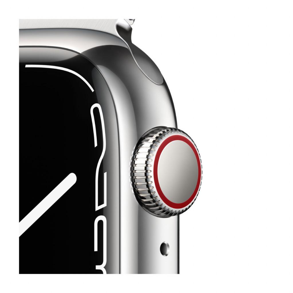 Apple Watch Series 7 Cellular 41 mm – Rustfritt stål i Sølv med Sølv Milanese Loop