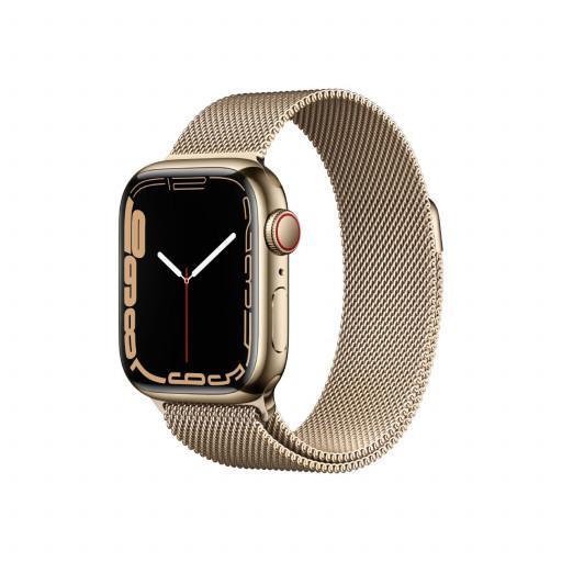 Apple Watch Series 7 Cellular 41 mm – Rustfritt stål i Gull med Gull Milanese Loop
