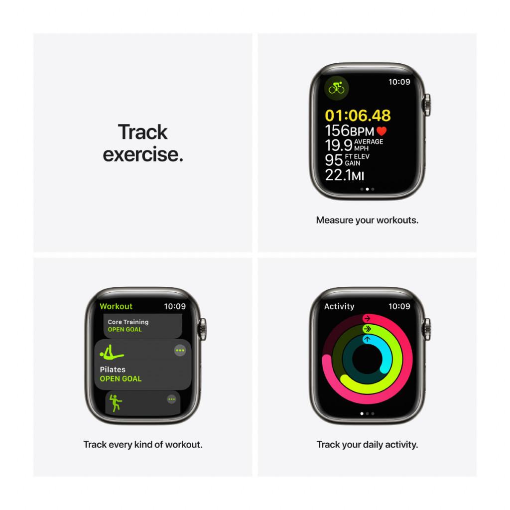 Apple Watch Series 7 Cellular 45 mm – Rustfritt stål i Grafitt med Grafitt Milanese Loop