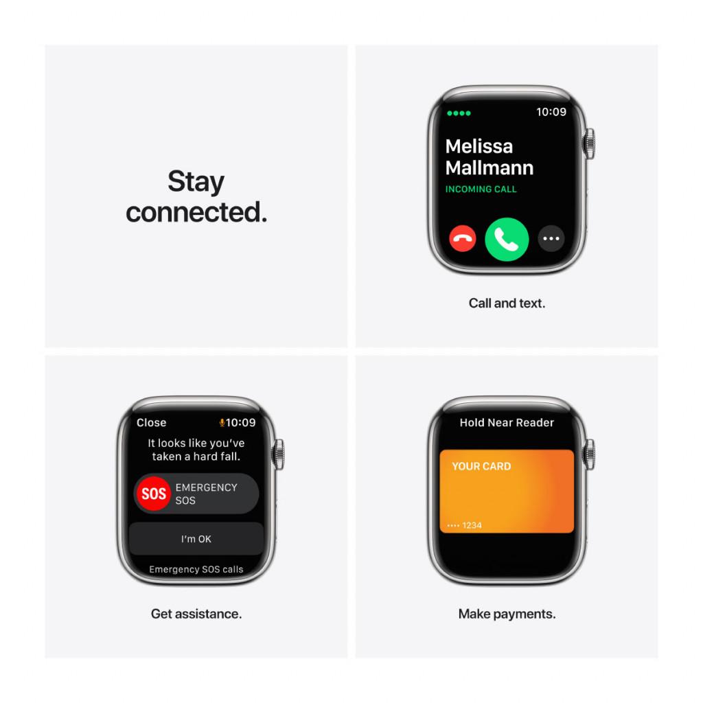 Apple Watch Series 7 Cellular 45 mm – Rustfritt stål i Sølv med Sølv Milanese Loop
