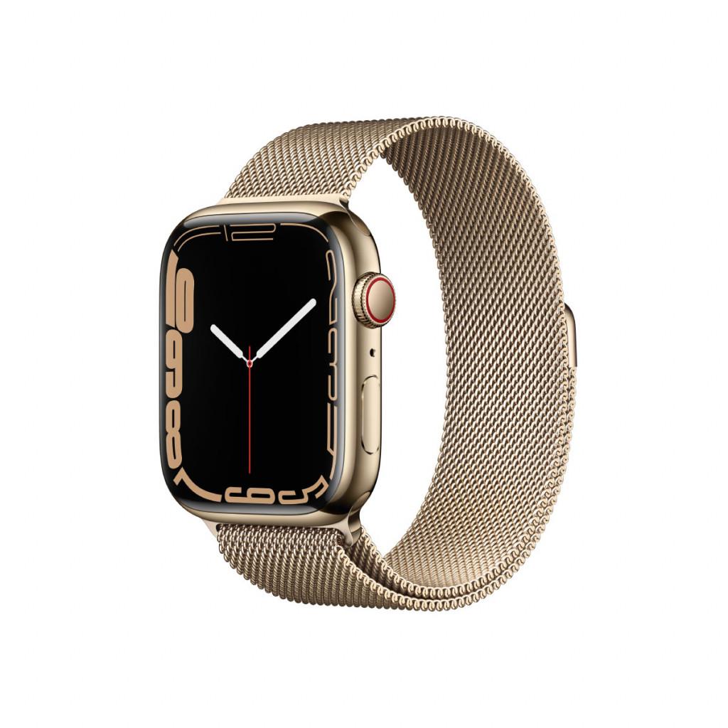 Apple Watch Series 7 Cellular 45 mm – Rustfritt stål i Gull med Gull Milanese Loop