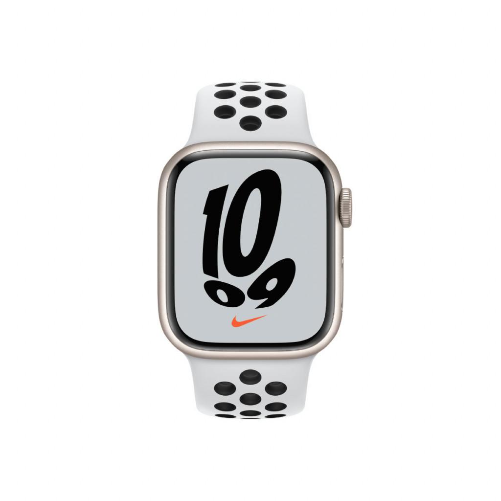 Apple Watch Nike Series 7 GPS 41 mm – Aluminium i Stjerneskinn med Pure Platinum/Black Sport Band