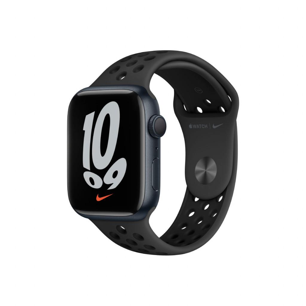 Apple Watch Nike Series 7 GPS 45 mm – Aluminium i Midnatt med Anthracite/Black Sport Band