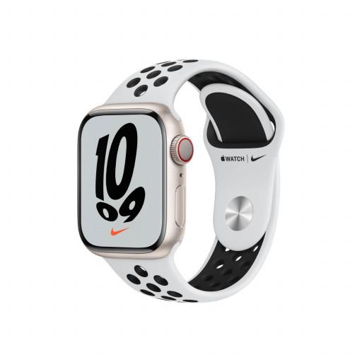 Apple Watch Nike Series 7 Cellular 41 mm – Aluminium i Stjerneskinn med Pure Platinum/Black Sport Band