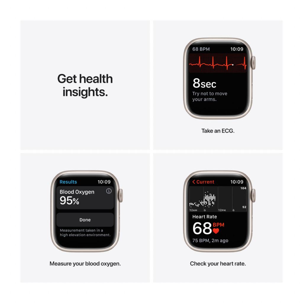Apple Watch Nike Series 7 Cellular 45 mm – Aluminium i Stjerneskinn med Pure Platinum/Black Sport Band